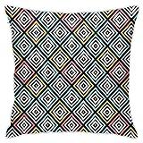 SHUJIA Funda de cojín con diseño geométrico clásico de diferentes tonos, 45,7 x 45,7 cm