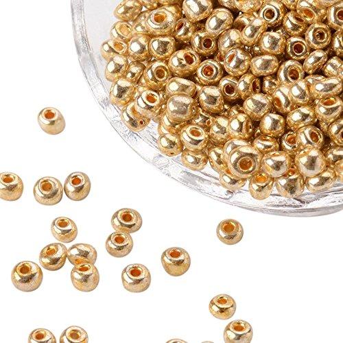 PandaHall Precio por 1 Bolsa Granos de la semilla de Cristal electrochapa, rocallas Agujero Redondo, Color del Oro, tamaño: Cerca de 4 mm de diámetro, 2.5 mm de Espesor, Agujero: 1 mm