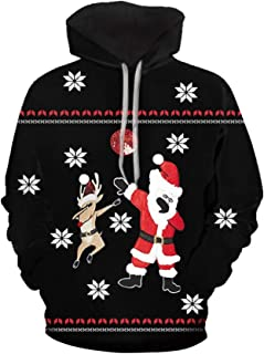 iZHH Pullover Hoodie Mens Christmas Sweatshirt Hooded Funny 3D Print Tops Coats