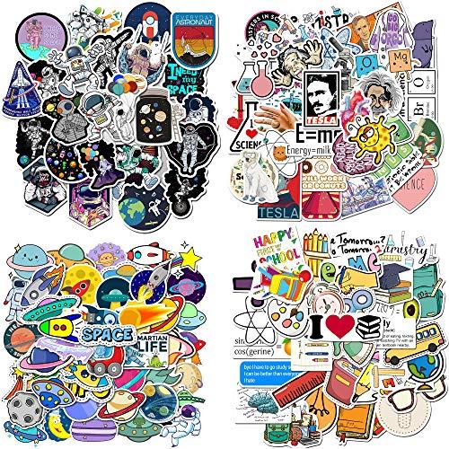 200PCS Graffiti Stickers Waterproof PVC Science School Astronaut Space Stickers for Children, Students, Teens, Laptop, Water Bottle, Phone, Luggage, Skateboard (School Science)