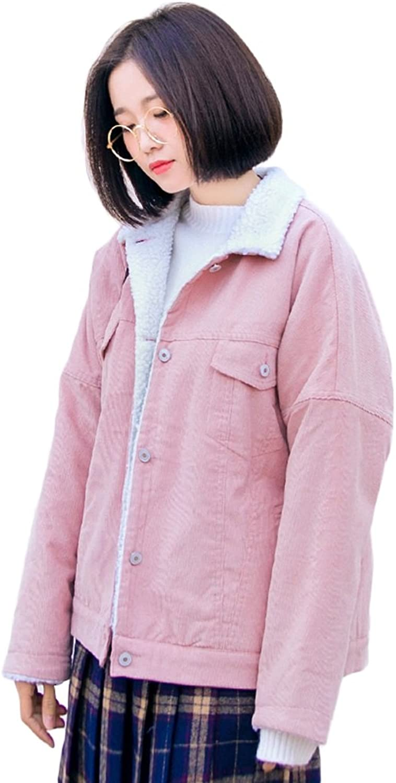 Women Elegant Lapel Coat Warm Jacket Winter Fashion Student Short Sections CottonPadded Jacket (color   Pink, Size   L)