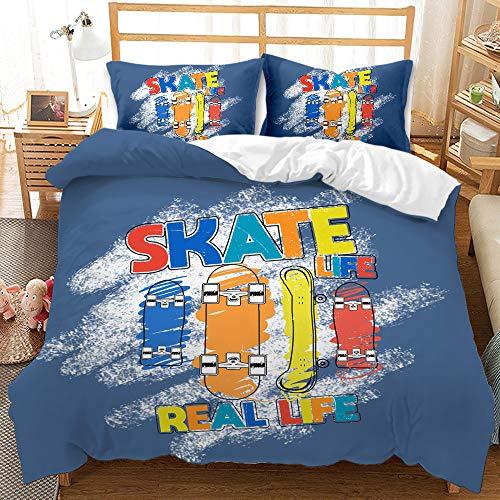 Keketu 3 sets of skateboard design, feather zipper, soft microfiber quilt, suitable for children and adults, gift ideas,F,260 x 220cm