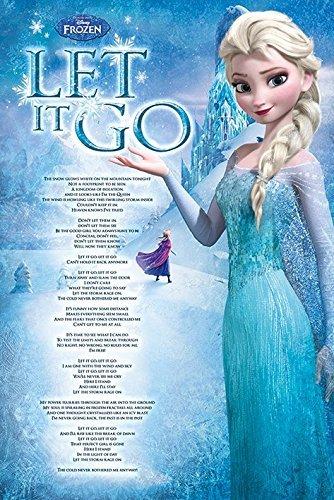 Xzmafthfrw Frozen - Disney Movie Poster (Let It Go - Sing Along Lyrics) (Size: 24' x 36')