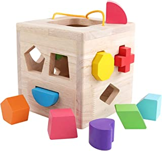 GEMEM Shape Sorter Toy My First Wooden 12 Building Blocks Geometry Learning Matching Gifts Didactic Toys for Toddlers Baby Kids 1 2 3 Years Old