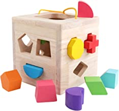 GEMEM Shape Sorter Toy My First Wooden 12 Building Blocks Geometry Learning Matching Sorting Gifts Didactic Classic Toys for Toddlers Baby Kids 1 2 3 Years Old