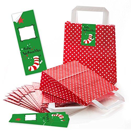 25 rot weiß gepunktete Papiertüten Geschenktüten Weihnachtstüten Boden 18 x 8 x 22 cm kleine Papiertaschen Tüten + rot grün weiß FROHE WEIHNACHTEN Nikolaus Strumpf Aufkleber Verpackung