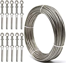 WELTEK Deck Cable Railing Kit, 10-Pack Threaded Stud Tension End Fitting Terminal & 105 Feet 1/8 Stainless Steel Aircraft Wire Rope - T316 7x7 Marine Grade