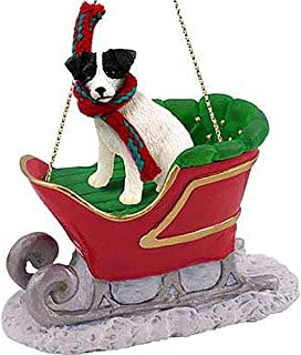 Conversation Concepts Jack Russell Terrier Sleigh Ride Christmas Ornament Black-White - Delightful!
