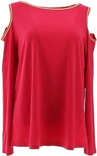 Susan Graver Liquid Knit Long SLV Cold Shoulder Top A287646