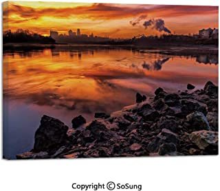 Modern Salon Theme Mural USA Missouri Kansas City Scenery of a Sunset Lake Nature Camping Themed Art Photo Painting Canvas Wall Art for Home Decor 24x36inches Multicolor