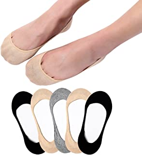 5 Pairs Women No Show Socks Invisible Ultra Low Cut Socks Non Slip for Boat Shoes Sneakers and Loafers