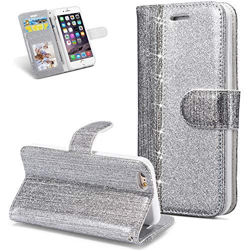 FNBK Hülle Leder Kompatibel mit iPhone 6S Handyhülle Glitzer Ledertasche Schutzhülle Wallet Flip Case Tasche Ultra Slim im Bookstyle Magnet Kartenfächer Stand Klapphülle für iPhone 6/6S,Silber