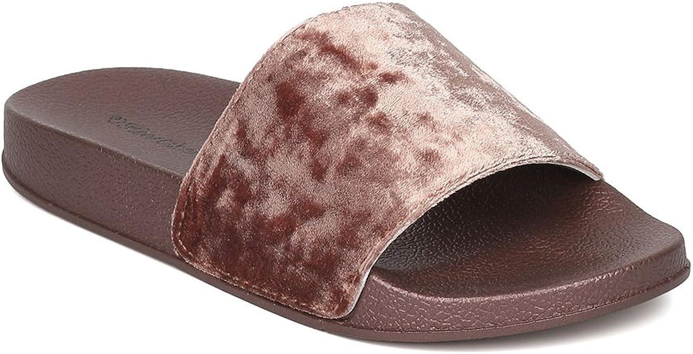 Heart.Thentic FLO-20 Women Velvet Open Toe Footbed Flat Sandal HB89
