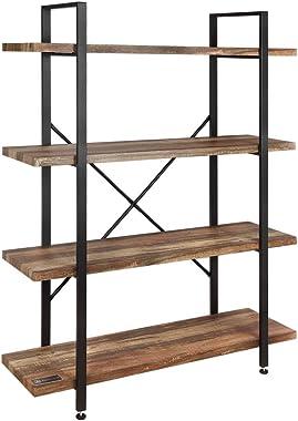 Homegear Furniture Vintage Oak Style 4-Tier Bookcase - Wood Shelves with Black Iron Frame