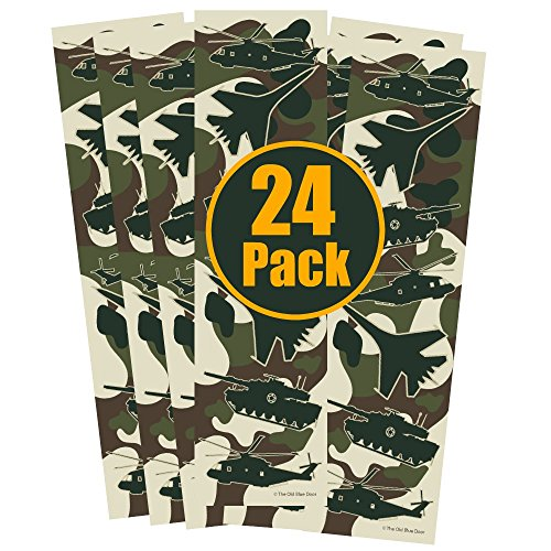 24 Military Camo Bookmarks for Boys - Helicopter, Tank, Fighter Jet Airplane Camouflage Party Favors - Kids Birthday Party Supplies - Reading Incentives - School Student Prizes