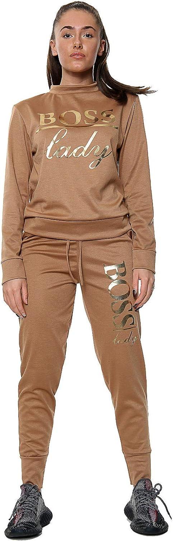 Womens Ladies Boss Lady Bottom Loungewear Long Sleeve Tracksuit Suit Set Pant 2
