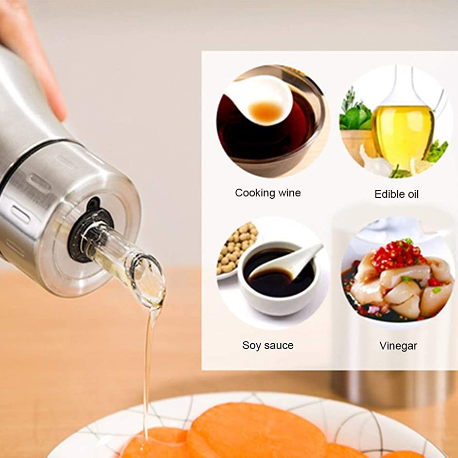 500ml Stainless Steel Oil Bottle Vinegar Olive Dispenser Bottles Leakproof Healthy Gravy Boat Home Kitchen Gadgets