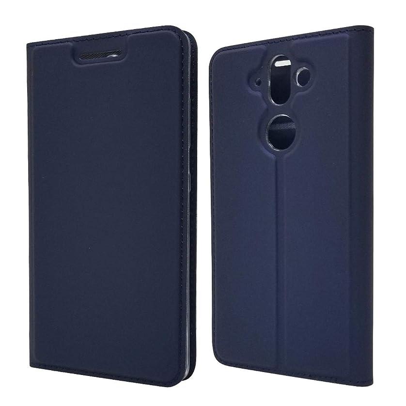 透明に小学生悲しいことにノキア9ウォレットレザーケース用カバー、キックスタンド付きスリムフィットフォリオスタンドケースプレミアムレザーケース[カードスロット] [Bulit-in Magnetic Closure](ノキア9用) FBIe2OCX (Color : Blue)