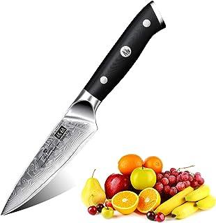 SHAN ZU Damast Schälmesser Obst und Gemüsemesser Küchen Messer Klein 67 Schichten Damaszener Messer mit G10 Griff - PRO Series