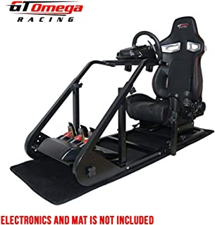 GT Omega Art Racing Simulator Cockpit RS9 Gaming Console Seat for Logitech G920, G29, G27, G25 Steering Wheel Pedals & Shifter Mount V2 PS4 Xbox One 360 TMX, with Stand & Reclinable Chair Rails