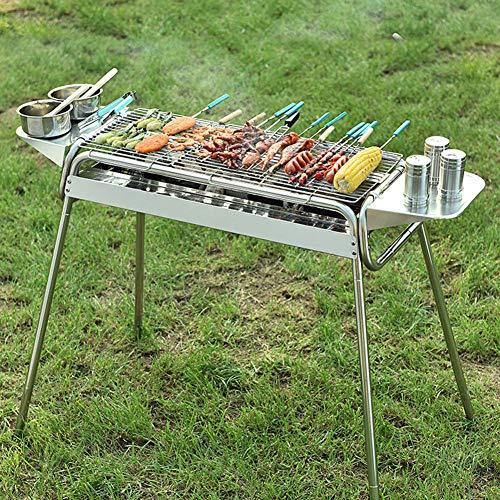 LHY Rechteckiger Grill, Edelstahl Verstellbarer Sockel Holzkohlegrill, Camp Party Picknickkocher Tragbar, Silber