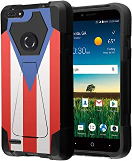 Capsule Case Compatible with ZTE Blade X2 Max, ZTE Blade Z Max, ZTE Z Max Pro 2, ZTE Sequoia Z982 [Dual Layer Combat Style T-Style Kickstand Armor Case Black] - (Puerto Rica Flag)