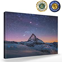 Modern Wall Art Painting Starry Night Sky Over The Mountains Prints On Canvas The Picture Landscape Pictures Oil for Home Decoration Print Decor for Living Room,12x16 inch
