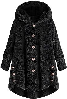 Plus Size Hooded Faux Fur Coats for Women Long Winter Warm Jacket Button Fluffy Pullover Loose Sweater Outwear Daorokanduhp
