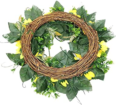 """Artificial Sunflower Wreath for Front Door 18""""Faux Floral Round Spring Summer Fall Wreath with Green Leaves and Sunflowers Ho"""