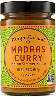 Maya Kaimal Madras Curry Sauce, 12.5 oz, Spicy Indian Simmer Sauce with Peppery Coconut and Coriander. Vegan, Gluten Free, Non-GMO Project Verified, Vegetarian