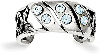 Lex & Lu Sterling Silver Antiqued Blue Stellux Crystal Toe Ring