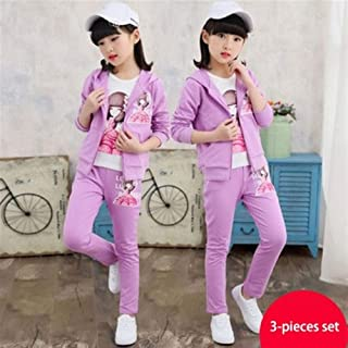 Girl's Spring Outfit, Big Kids' Spring and Autumn Sports 3 Piece Outfit, Little Girl Sportswear Outer + Pants (Color : Purple, Size : 150cm)
