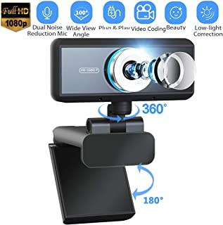 Webcam with Microphone,1080P HD 360° Rotatable Web Camera with 100° Wide Angle, Plug & Play USB Computer Cameras with Clip for Laptop/Desktop/Mac/YouTube/Skype/Online Teaching/Streaming