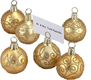 Klikel Glass Gold with Gold Glitter Ball Shape Place Card Holders 12-Piece Set
