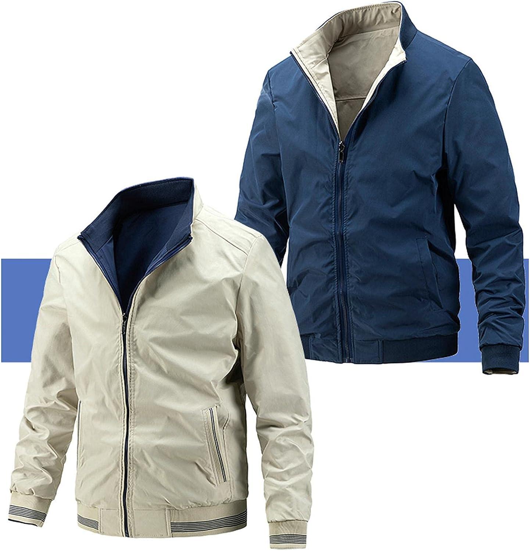 haoricu Men's Inside Worn Outside Coats Autumn Winter Wear Jacket Classic Mens Light Jacket Hoodies with Zipper