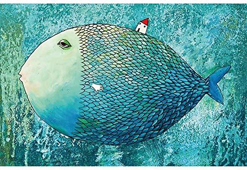 Mini Puzzles de 1000 Piezas en Miniatura DIYpara Adultos Enorme pez Azul de cartón Resistente Desafío de Ejercicio Cerebral Juego de Alta dificultad Regalo para Niño 38 * 26cm