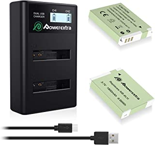 Powerextra 2 Pack Replacement Canon NB-6LH Battery and Smart LCD Display Dual USB Charger for Canon NB-6L and Powershot S120, SX510 HS, SX280 HS, SX500 IS, SX700, D20, S90, D30, ELPH 500, SX270, SX240