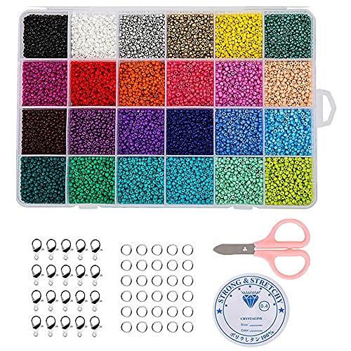 24000 Piezas Cuentas de Colores DIY, Cuentas de Colores para Los Niños, Cuentas de Cristal, Cuentas de Vidrio, Abalorios para Hacer Pulseras, para la Fabricación de Collares de Pulsera (24 Colores)
