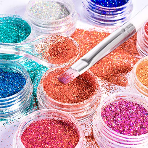 Cosmetic Glitter, 12 Colors Holographic Craft Glitter for Hair FaceNailBody Lip Gloss with Nail Brush and Measuring Spoon