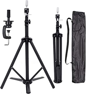 BaiHong Black Heavy Duty Canvas Block Wig Stand Metal Adjustable Tripod Stand Holder with Travel Bag Cosmetology Training ...