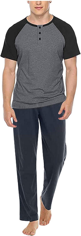 Maryia Men's Summer Casual Tracksuit 2021 Crewneck Cotton Comfy Pajamas Retro Classic Fit Sports Short Sleeve Sweatsuit