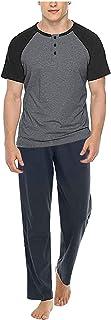 Orderking Men's Summer Sleepwear Short Sleeve Striped Cotton Shorts and Top Pajama Set Mens Short Pajamas Set Big and Tall...