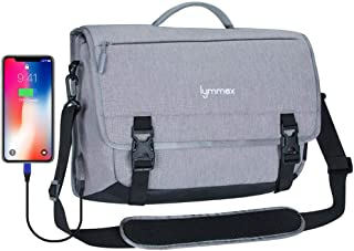Lymmax Messenger Bag, Laptop Briefcase with USB Charging Port Waterproof Satchel Bag Crossbody for Business Travel College