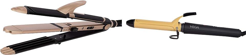 VEGA 3 in 1 Hair Styler (VHSCC-01), Black & VEGA VHCH-02 Ease Curl, 25mm Barrel