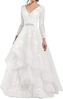HUINI Brautkleider Asymmetrisch Elegant Lang mit Schleppe Brautmode Strandkleider R/ückenfrei Organza Hochzeitskleid Tr/ägerlos Herzausschnitt