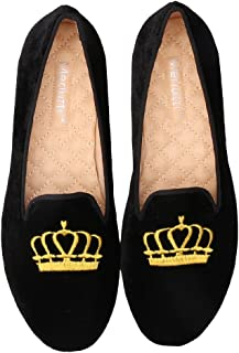 Merlutti Women's Princess Gold Crown Embroidered Black Velvet Loafers Smoking Low Heeled Slipper Flats Shoes