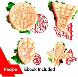 SPIDERMAN MINI SANDWICHES by WNF Craft - Includes 4 Superhero Spiderman Molds for Extra Fun Baking - Perfect for Making Cookies, Mini Sandwiches, Shaped Cheese, Fruits, Ham and Bologna