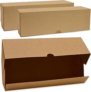 ScrapCooking - Lot de 2 Boîtes à Buches et Cakes - Carton Kraft Alimentaire Recyclable - 35 x 11 x 11 cm - pour Transport ...