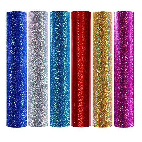 TECKWRAP Glänzende Laser-Wärmetransferfolie aus Vinyl mit holografischem Glitzer, zum Aufbügeln, 30,5 x 25,4 cm, 6 Bögen (Rot HTV)