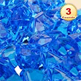 PMLAND Acrylic Ice Rocks Crystals Gems ~550 Pcs 3 lbs Bulk Bag for Vase Filler Table Scatter Party Wedding Arts Crafts Decoration Display Idea -Royal Blue